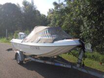 Angelo Molinari 410, Evinrude 25 E-TEC en pega trailer